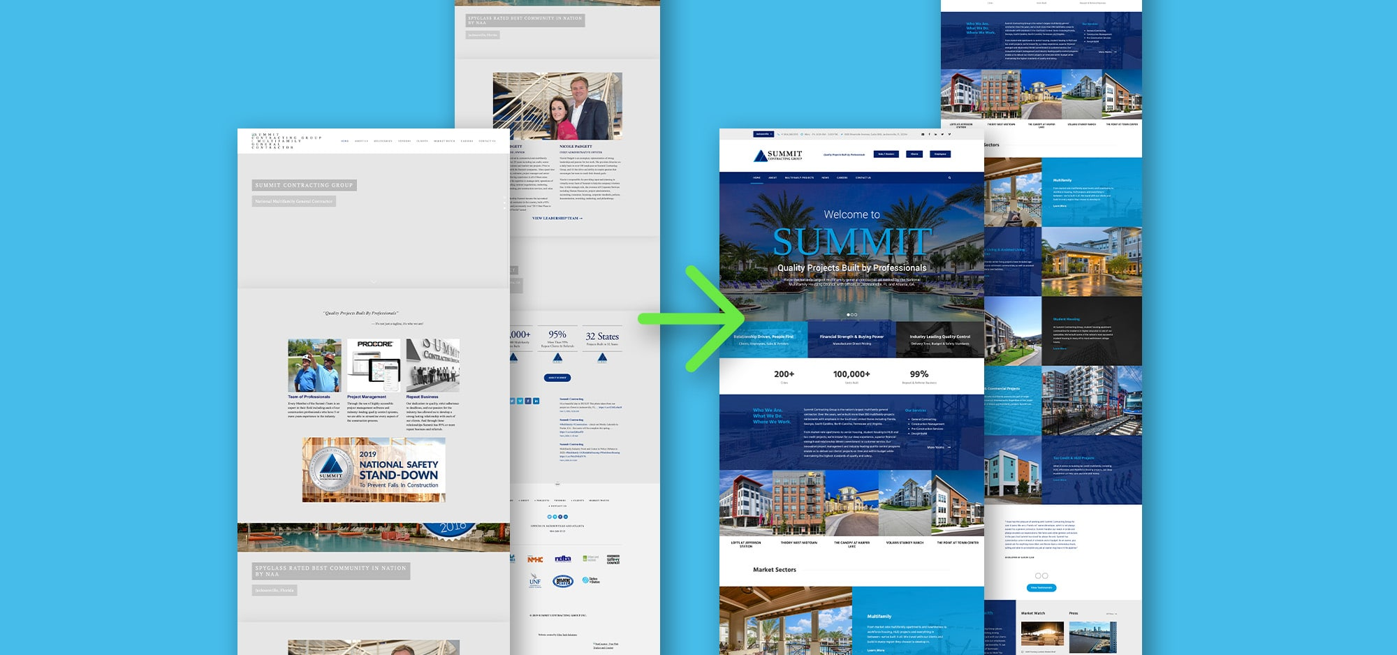 Summit website mockup of homepage and project pages