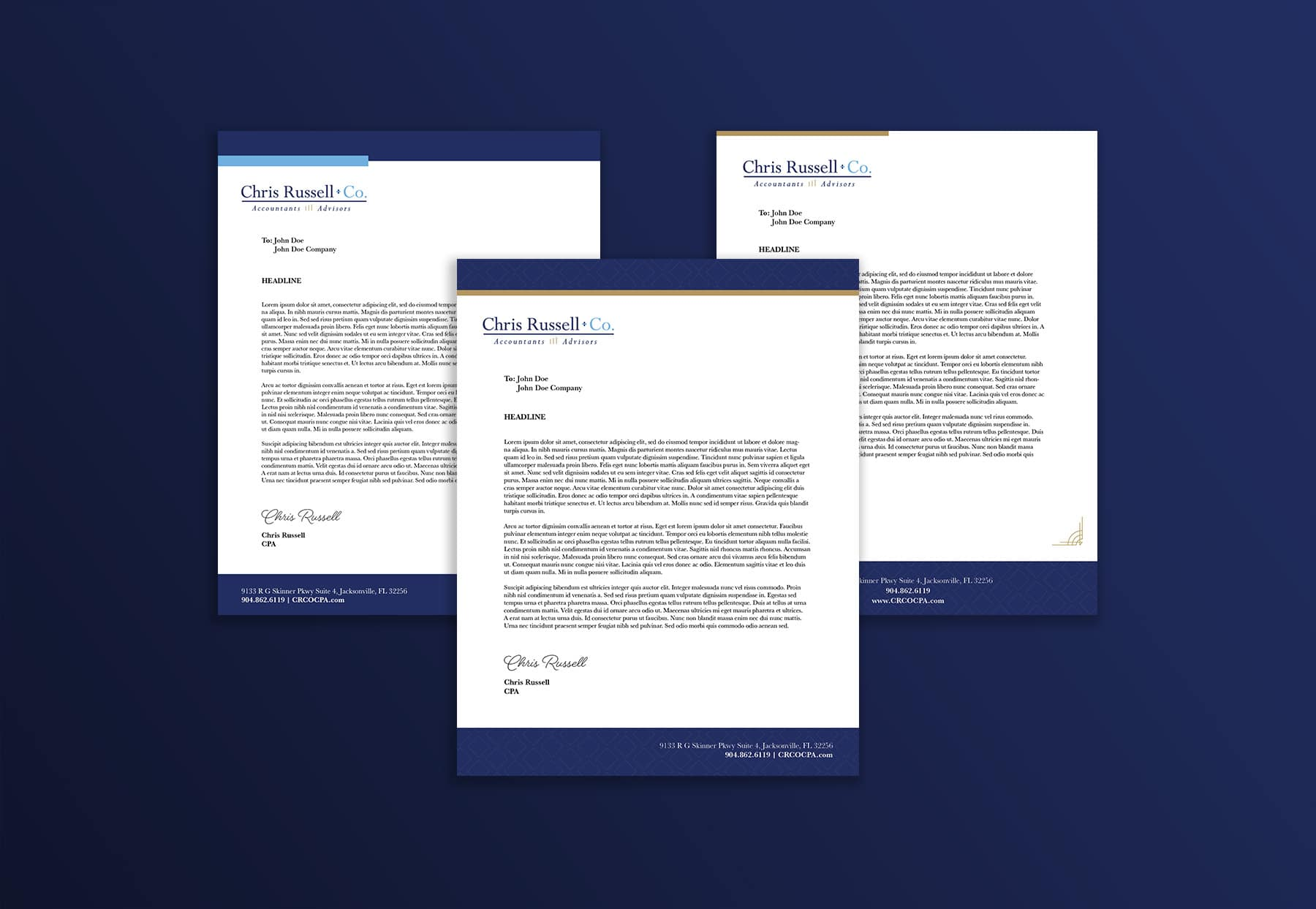 Chris Russell + Co. Letterhead Design mockup by digital marketing agency Beson4 in Jacksonville, Florida