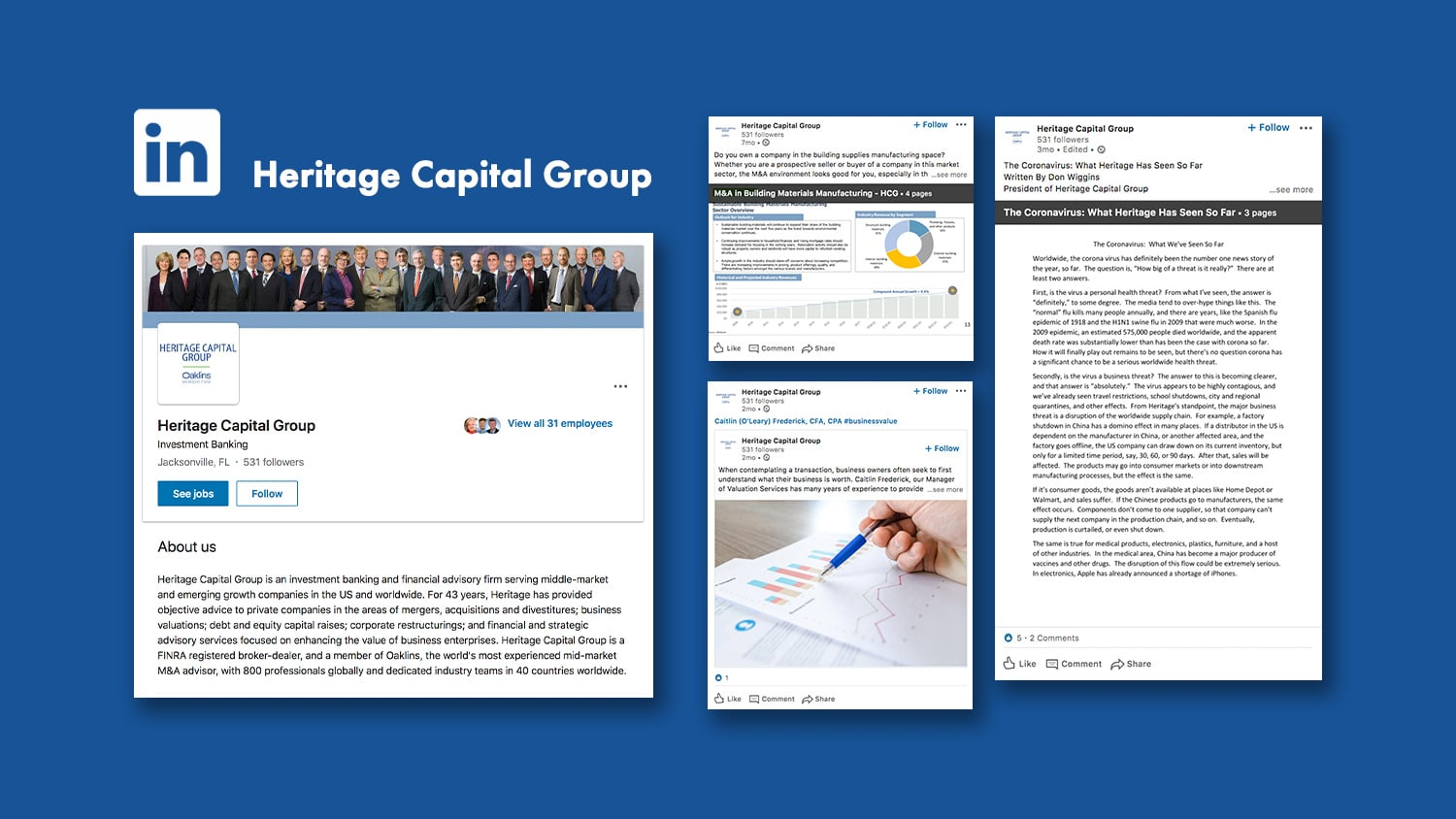 Graphic mockup of Heritage Capital Group LinkedIn Social Media Management and Marketing by digital marketing group Beson4 in Jacksonville, Florida